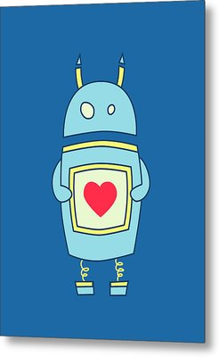 Blue Cute Clumsy Robot With Heart Metal Print by Boriana Giormova