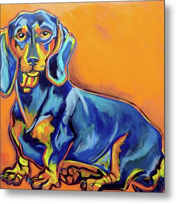 Blue Dachshund Metal Print by Ilene Richard