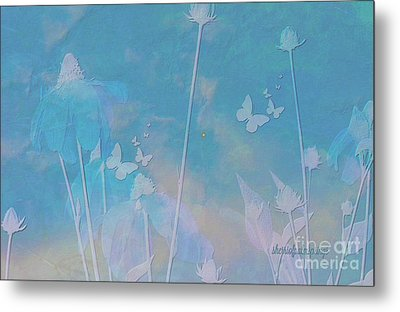 Blue Daisies And Butterflies Metal Print by Sherri's Of Palm Springs