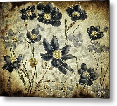 Metal Print featuring the digital art Blue Daisies by Lois Bryan
