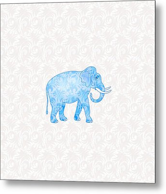 Blue Damask Elephant Metal Print