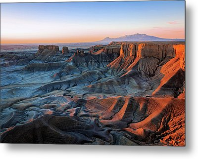 Metal Print featuring the photograph Blue Dawn In The Cainville Badlands. by Johnny Adolphson