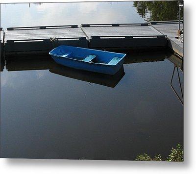 Blue Dinghy Quiet Waters Metal Print