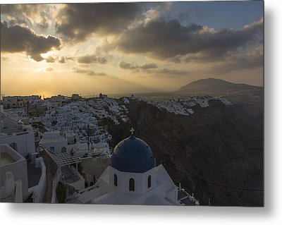 Metal Print featuring the tapestry - textile Blue Dome - Santorini by Kathy Adams Clark