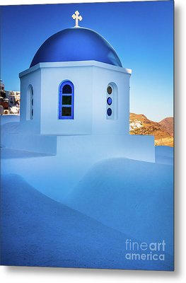 Blue Domed Chapel Metal Print by Inge Johnsson