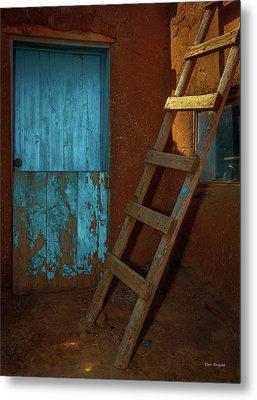 Blue Door And Ladder - Taos Pueblo Metal Print by Tim Bryan