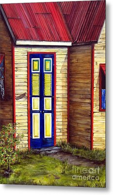 Metal Print featuring the painting Blue Door by Anna-Maria Dickinson