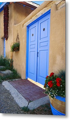Blue Door Of An Adobe Building Taos New Mexico Metal Print by George Oze
