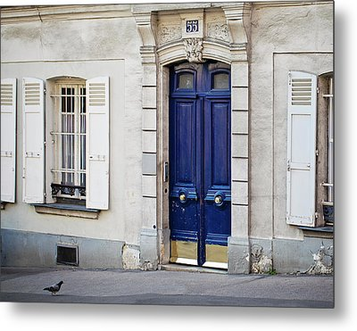 Metal Print featuring the photograph Blue Door - Paris, France by Melanie Alexandra Price