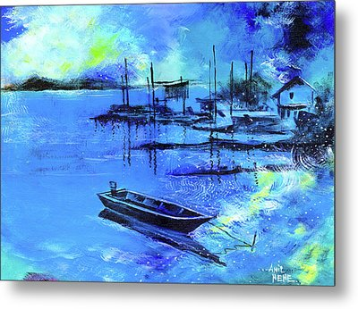 Metal Print featuring the painting Blue Dream 2 by Anil Nene