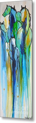 Metal Print featuring the painting Blue Drip 2 by Cher Devereaux
