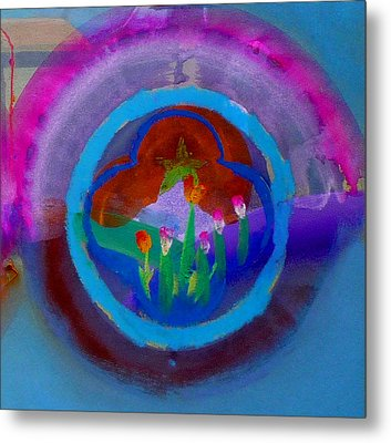 Metal Print featuring the painting Blue Embrace by Charles Stuart