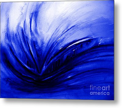 Metal Print featuring the painting Blue Expression by Allison Ashton