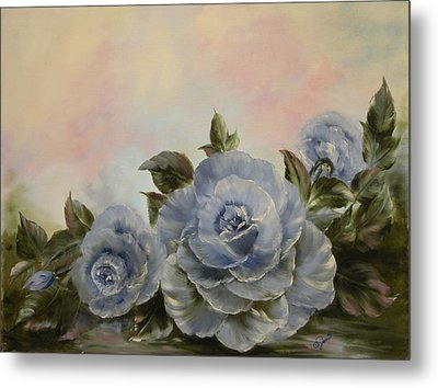 Metal Print featuring the painting Blue Fantasy by Joni McPherson