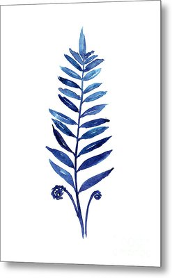Blue Fern Watercolor Poster Metal Print