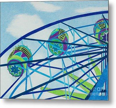 Blue Ferris Wheel Metal Print