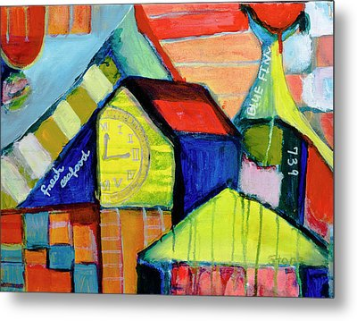 Metal Print featuring the painting Blue Fin's Fresh Seafood by Susan Stone