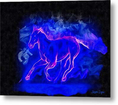 Blue Fire Horse - Da Metal Print