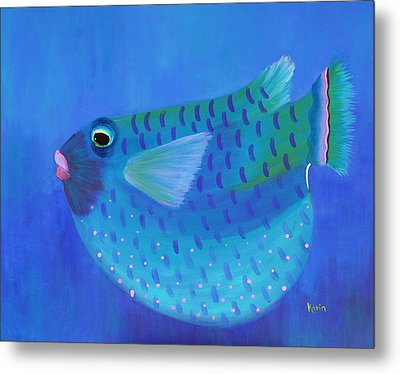 Blue Fish With Pink Lips Metal Print
