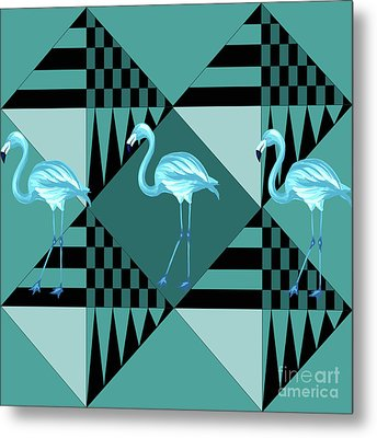 Blue Flamingo Metal Print