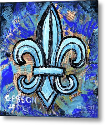 Metal Print featuring the mixed media Blue Fleur De Lis by Genevieve Esson