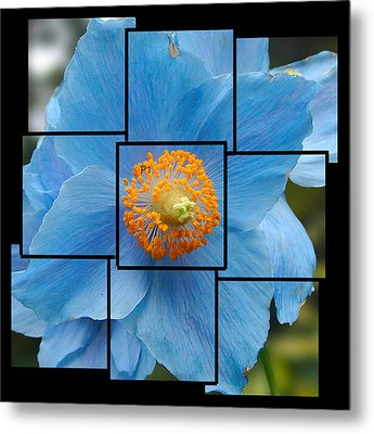 Blue Flower Photo Sculpture  Butchart Gardens  Victoria Bc Canada Metal Print by Michael Bessler