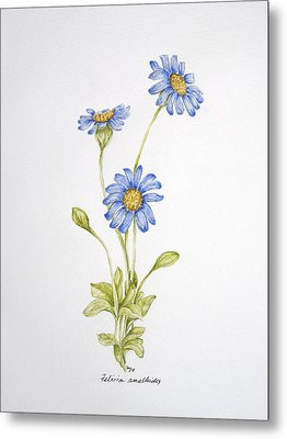 Blue Flower Metal Print by Theresa Marie Johnson