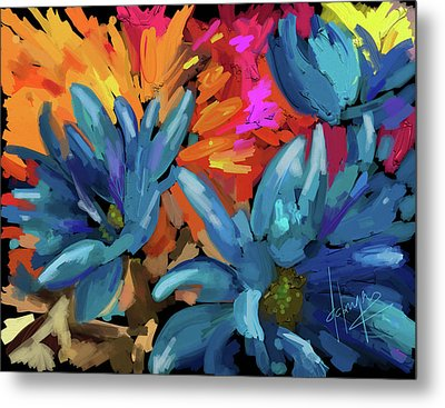 Blue Flowers 2 Metal Print by DC Langer