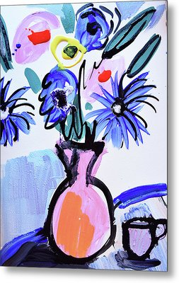 Blue Flowers And Coffee Cup Metal Print