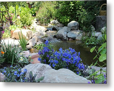 Blue Flowers And Stream Metal Print by Corey Ford