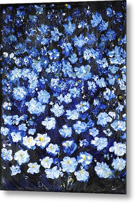 Metal Print featuring the painting Blue Flowers by Evelina Popilian