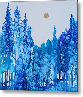 Blue Forest Metal Print by Suzanne Canner