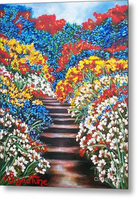Metal Print featuring the painting Blue Garden Cascade by Sigrid Tune