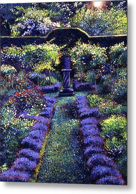 Blue Garden Sunset Metal Print