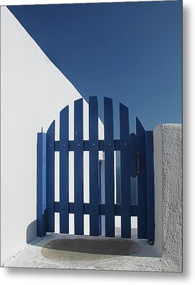 Blue Gate Oia Santorini Metal Print