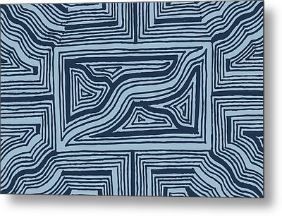 Blue Geo Metal Print by Jill Lenzmeier