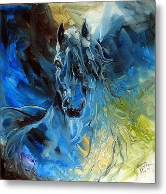 Blue Ghost  Equine Art Original Oil Metal Print by Marcia Baldwin