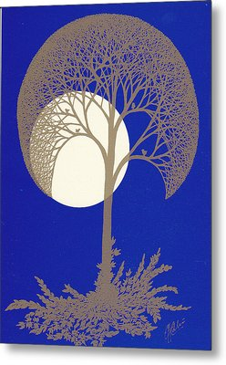 Blue Gold Moon Metal Print by Charles Cater