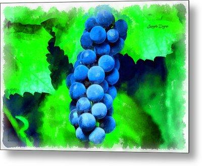 Blue Grapes  - Aquarell Style -  - Da Metal Print by Leonardo Digenio