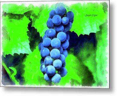 Blue Grapes - Aquarell Over Paper Metal Print by Leonardo Digenio