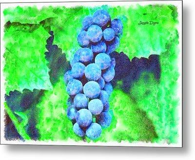 Blue Grapes  - Watercolor Style -  - Da Metal Print