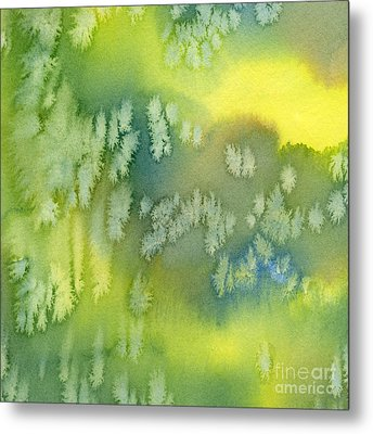 Blue Green And Yellow Abstract Watercolor Design 1 Metal Print by Sharon Freeman