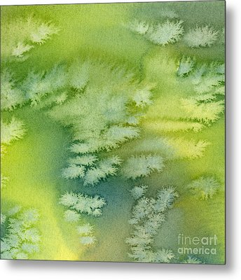 Blue Green And Yellow Abstract Watercolor Design 4 Metal Print by Sharon Freeman