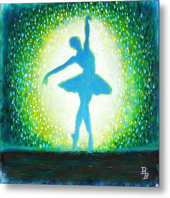 Metal Print featuring the painting Blue-green Ballerina by Bob Baker