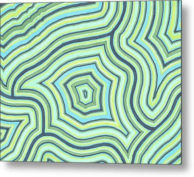 Blue Green Pattern Play Metal Print