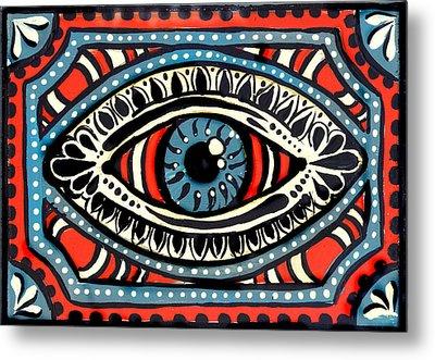 Metal Print featuring the painting Blue Gypsi Eye by Nada Meeks