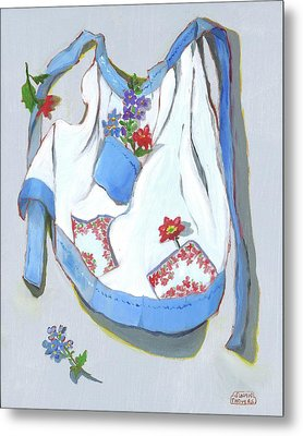 Blue Handkerchief Apron Metal Print by Susan Thomas