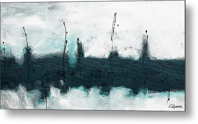 Metal Print featuring the painting Blue Harbour by Carmen Guedez