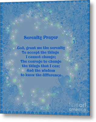 Blue Hearts Serenity Prayer Metal Print