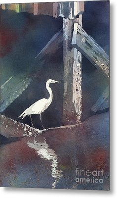 Metal Print featuring the painting Blue Heron- Outer Banks by Ryan Fox